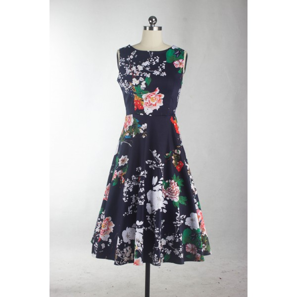 Boatneck Floral Print Rockabilly Vintage Sleeveless Evening Party Swing Dress CF1256 Navy_10