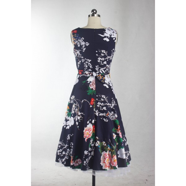 Boatneck Floral Print Rockabilly Vintage Sleeveless Evening Party Swing Dress CF1256 Navy_07