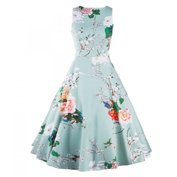 Boatneck Floral Print Rockabilly Vintage Sleeveless Evening Party Swing Dress CF1256 LightBlue_01