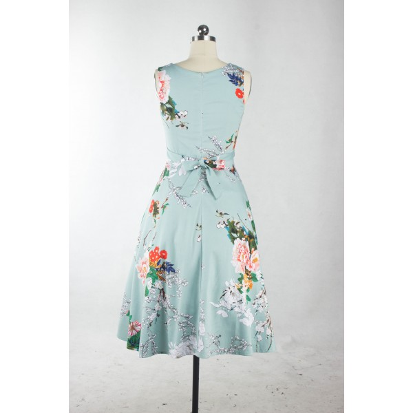 Boatneck Floral Print Rockabilly Vintage Sleeveless Evening Party Swing Dress CF1256 LightBlue_03