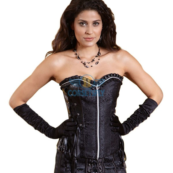 Buckle Side Lace Up Side Back Zipper Front Overbust Corset CF5016 Black