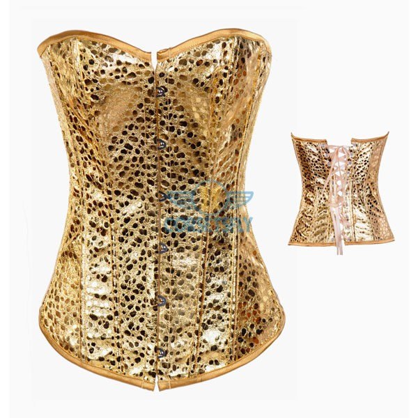 Burlesque Body Shaper Lace Up Back Strapless Gold Leather Corset CF7240_01