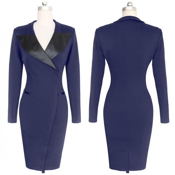 Celebrity Classic Vintage Lapel Collar Long Sleeve Bodycon Pencil Dresses CF1629 Blue_01