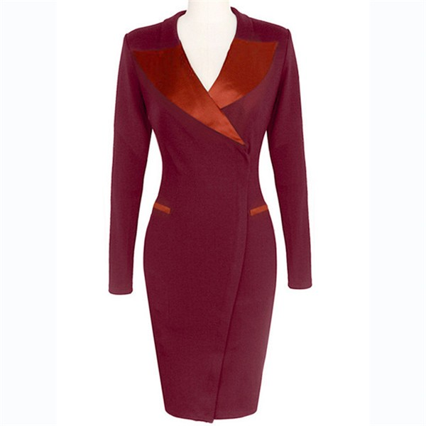 Celebrity Classic Vintage Lapel Collar Long Sleeve Bodycon Pencil Dresses CF1629 Burgundy_01
