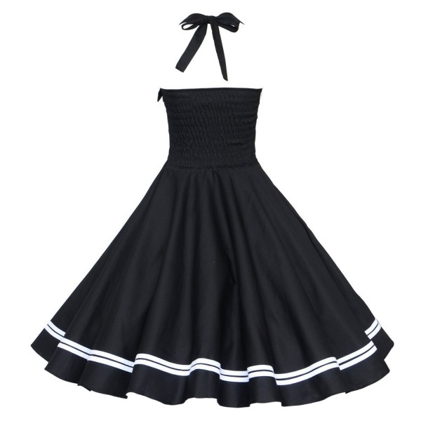 Chic Halter Pinup Sweetheart Neckline Vintage Striped Rockabilly Swing Dress CF1282 Black_02