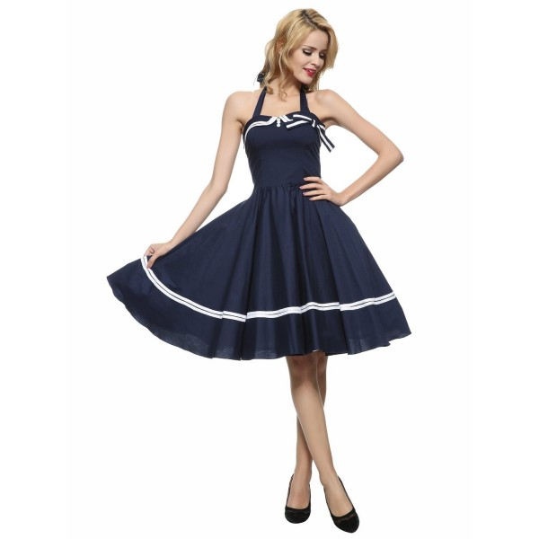 Chic Halter Pinup Sweetheart Neckline Vintage Striped Rockabilly Swing Dress CF1282 Blue_03