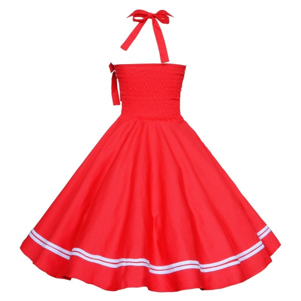 Chic Halter Pinup Sweetheart Neckline Vintage Striped Rockabilly Swing Dress CF1282 Red_02