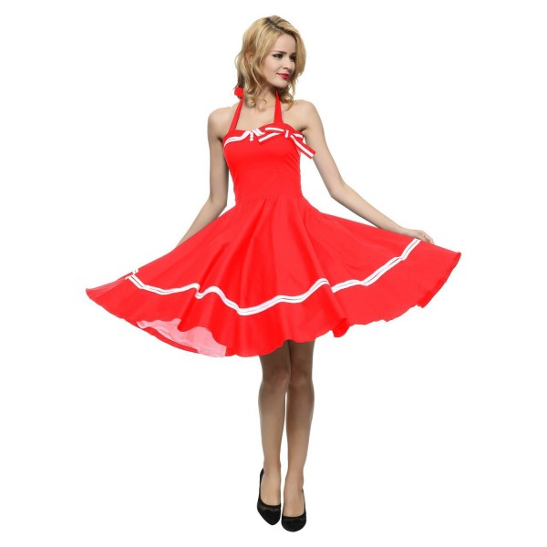 Chic Halter Pinup Sweetheart Neckline Vintage Striped Rockabilly Swing Dress CF1282 Red_03