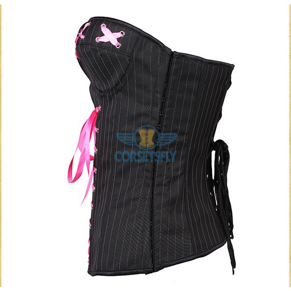 Chic High quality Denim Pink Ribbon Criss Cross Embelishment Corset CF5160 Black_01