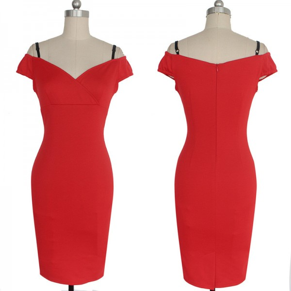 Chic Voguish Pleated Sweetheart Neck Strappy Office Bodycon Pencil Dresses CF1294 Red_01