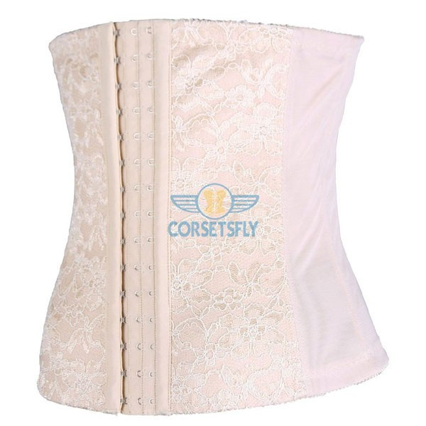 Classic 3 Rows Of Hook Eye Lace Steel Boned Underbust Corset CF5507 Beige_01