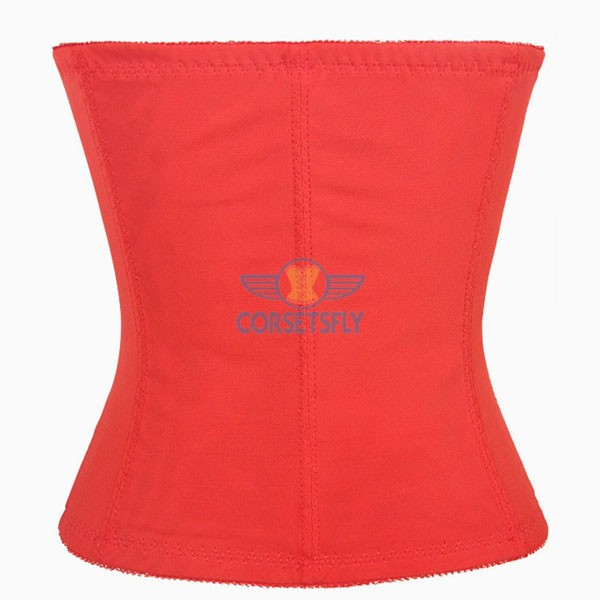 Classic 3 Rows Of Hook Eye Lace Steel Boned Underbust Corset CF5507 Red