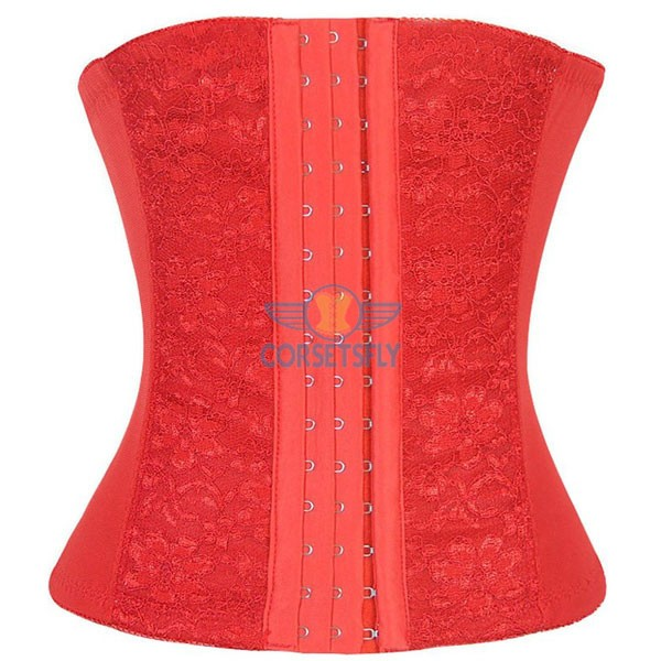 Classic 3 Rows Of Hook Eye Lace Steel Boned Underbust Corset CF5507 Red_03