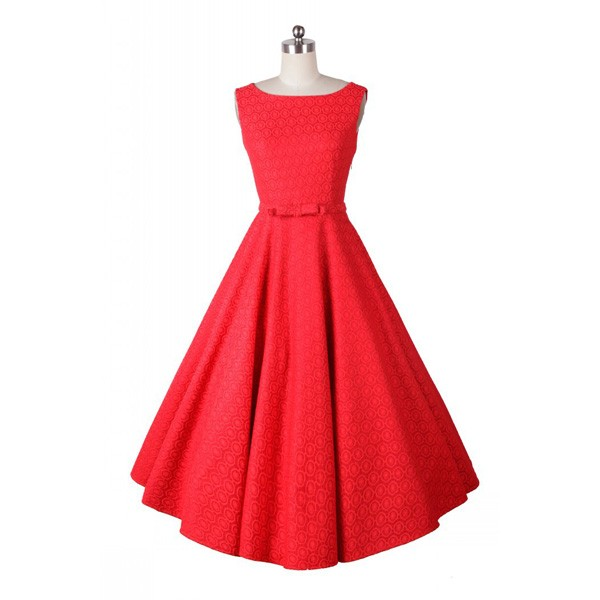 Classic and Iconic Audrey Hepburn 1950s Vintage Rockabilly Swing Dress red