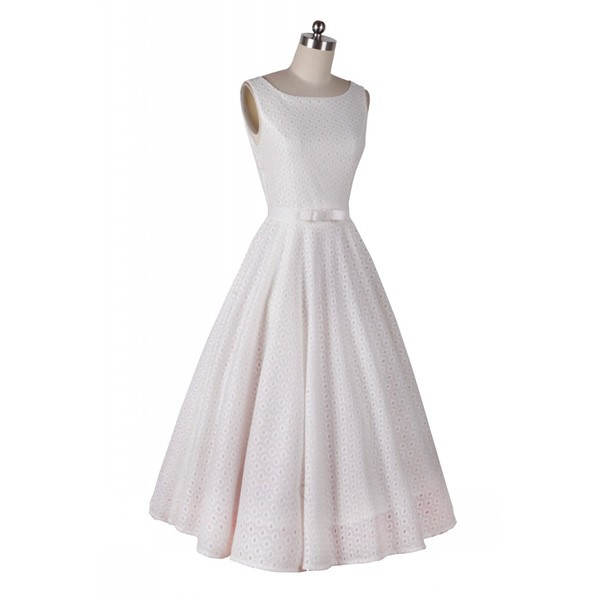 Classic and Iconic Audrey Hepburn 1950s Vintage Rockabilly Swing Dress white_01