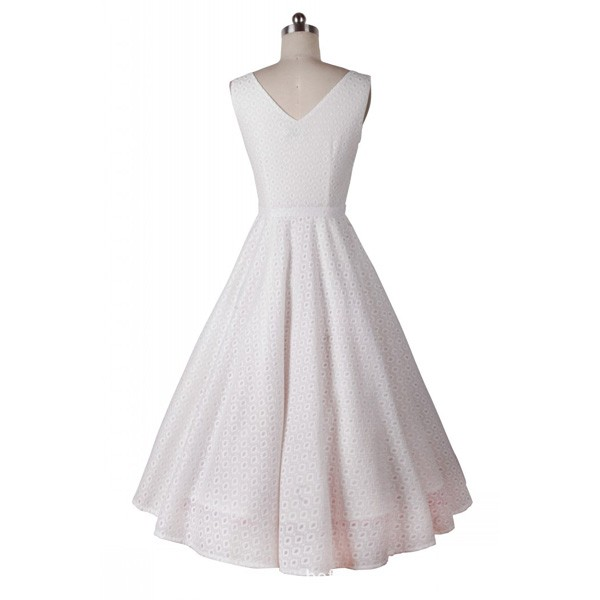 Classic and Iconic Audrey Hepburn 1950s Vintage Rockabilly Swing Dress white_03