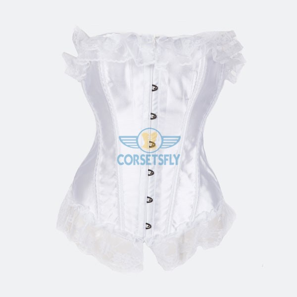 Classic Curves Lace Trim On Top and Bottom Overbust Corset CF7044 White