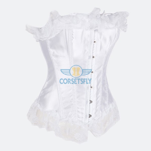 Classic Curves Lace Trim On Top and Bottom Overbust Corset CF7044 White_01