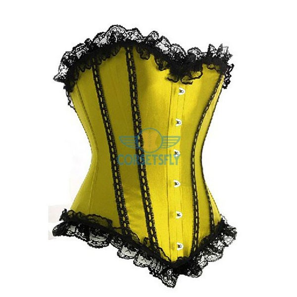 Classic Curves Lace Trim On Top and Bottom Overbust Corset CF7044 Yellow
