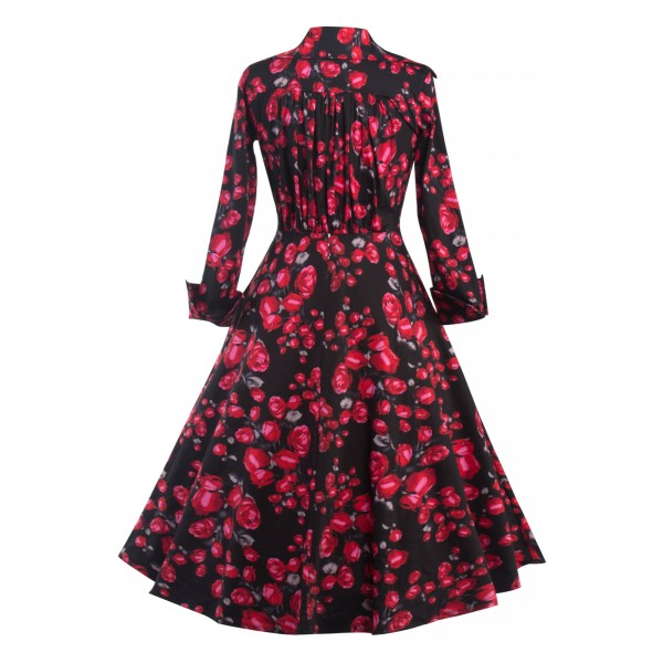 Classic Floral Lapel Collar Retro Long Sleeve Rockabilly Swing Dress CF1288_05
