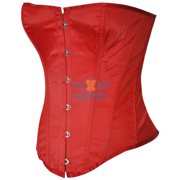 Classic Front Steel Busk Closure Strapless Plastic Boned Satin Corset CF7030 Red_01