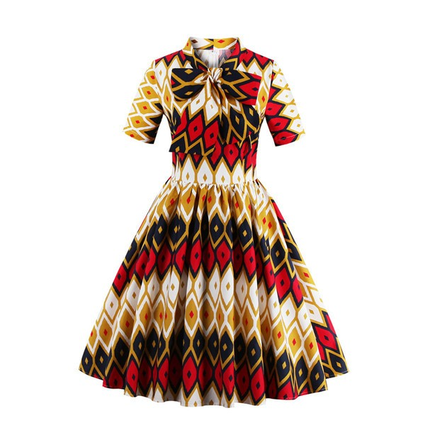 Classic Geometrical Print Bowknot Vintage Half Sleeve Rockabilly Swing Dress CF1435 Multi_01