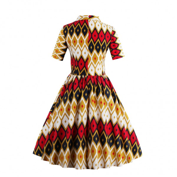 Classic Geometrical Print Bowknot Vintage Half Sleeve Rockabilly Swing Dress CF1435 Multi_02