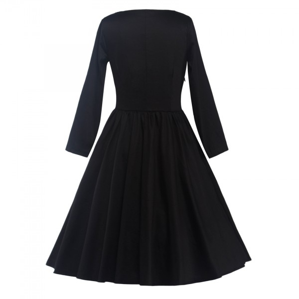Classic Retro Round Neckline Vintage Long Sleeve Rockabilly Swing Dress CF1284 Black_03