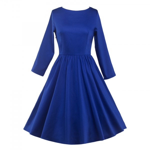 Classic Retro Round Neckline Vintage Long Sleeve Rockabilly Swing Dress CF1284 Blue_01