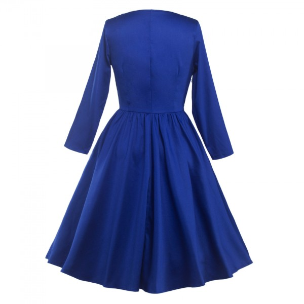 Classic Retro Round Neckline Vintage Long Sleeve Rockabilly Swing Dress CF1284 Blue_02