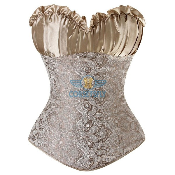 Classic Rouched Cups Side Zipper with Removable Straps Overbust Corset CF7108 Beige