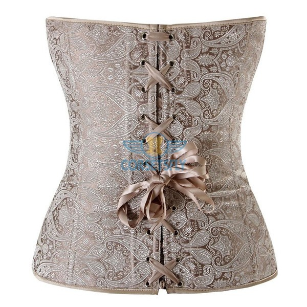 Classic Rouched Cups Side Zipper with Removable Straps Overbust Corset CF7108 Beige_01