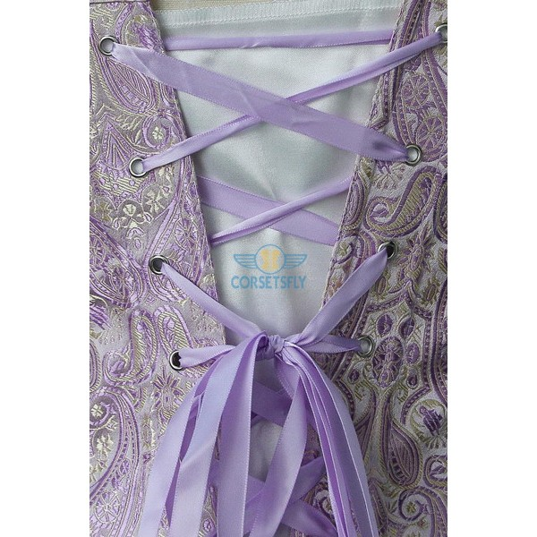 Classic Rouched Cups Side Zipper with Removable Straps Overbust Corset CF7108 Purple_03