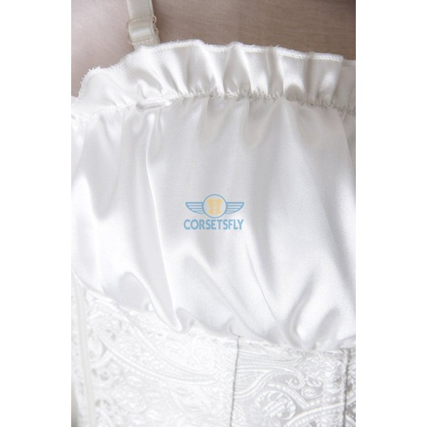 Classic Rouched Cups Side Zipper with Removable Straps Overbust Corset CF7108 White_03