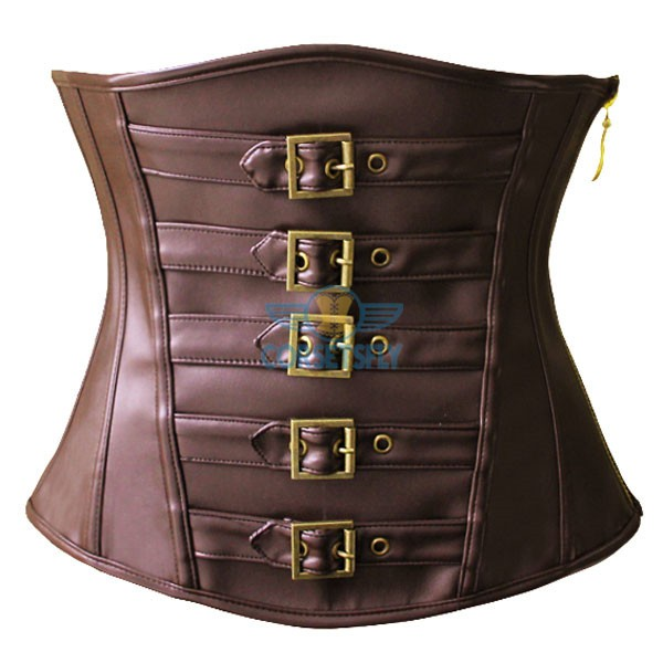 Classic Sexy Brown Leather Victorian Steampunk Zip Buckles Underbust Corset CF5305 Brown