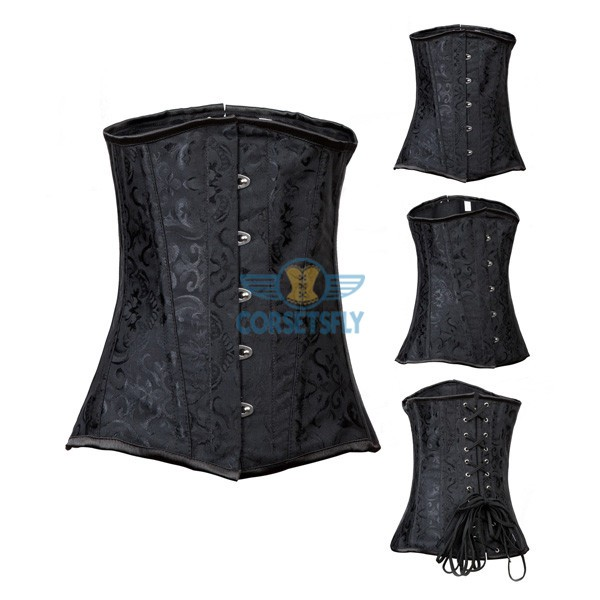 Classic Steel Boned Black Brocade Waist Reducing Training Underbust Corset CF7535_09