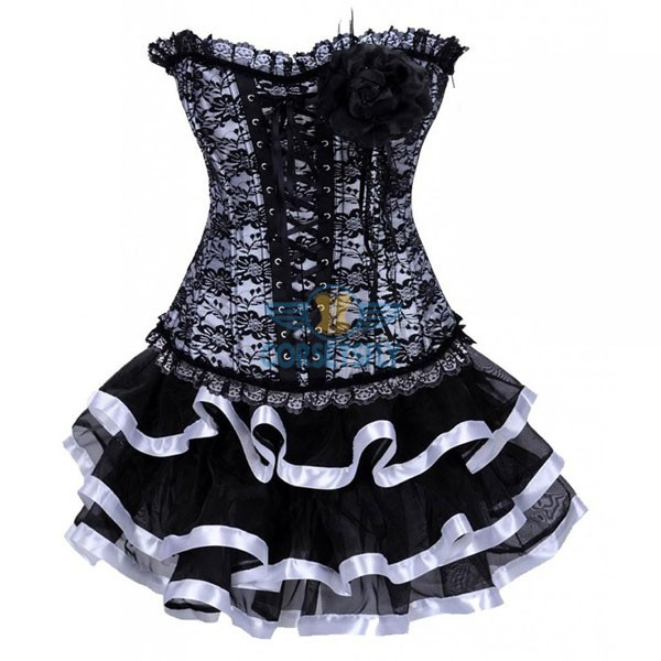 Classic Vintage Goth European With Flower Elegant Lace Corset Dress CF7863 White