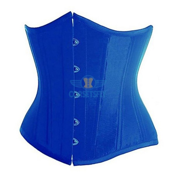 Classic Vintage Satin Underbust Plastic Bone Wedding Lace Up Corset CF7518 Blue