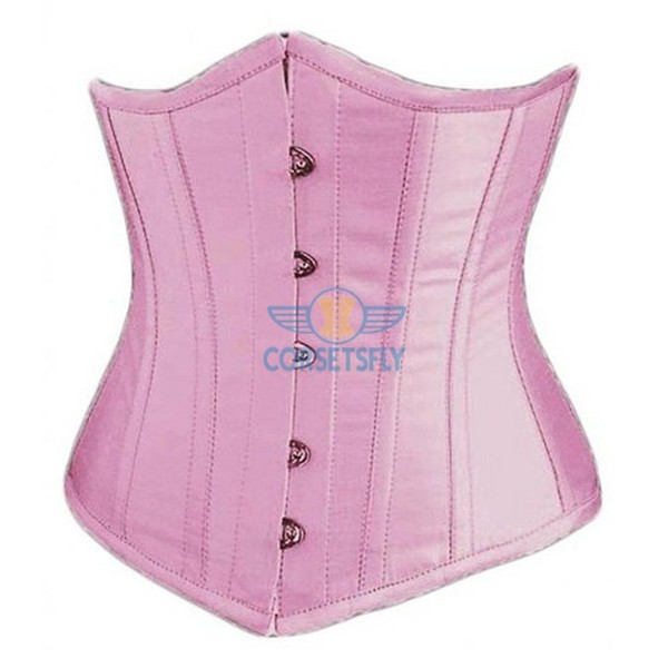 Classic Vintage Satin Underbust Plastic Bone Wedding Lace Up Corset CF7518 Pink