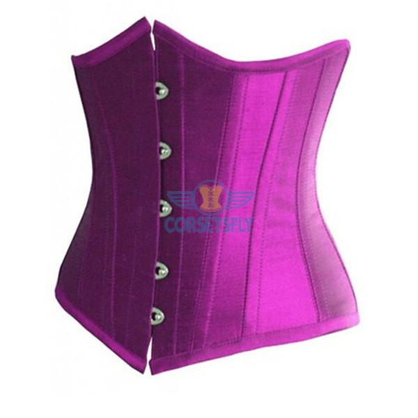 Classic Vintage Satin Underbust Plastic Bone Wedding Lace Up Corset CF7518 Purple