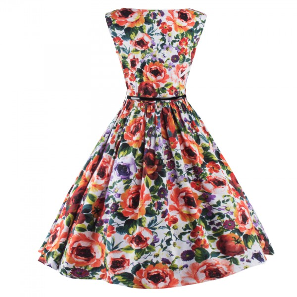 Classy Multi Floral Print Rockabilly Vintage Pinup Sleeveless Swing Dress CF1252_03