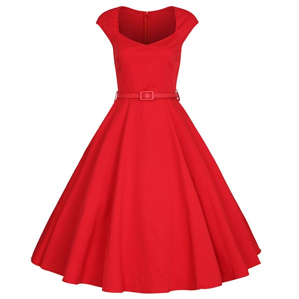 Classy Rockabilly Cap-sleeve with Belt Swing Red Evening Party Dress CF1508_01