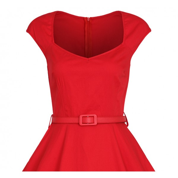 Classy Rockabilly Cap-sleeve with Belt Swing Red Evening Party Dress CF1508_03