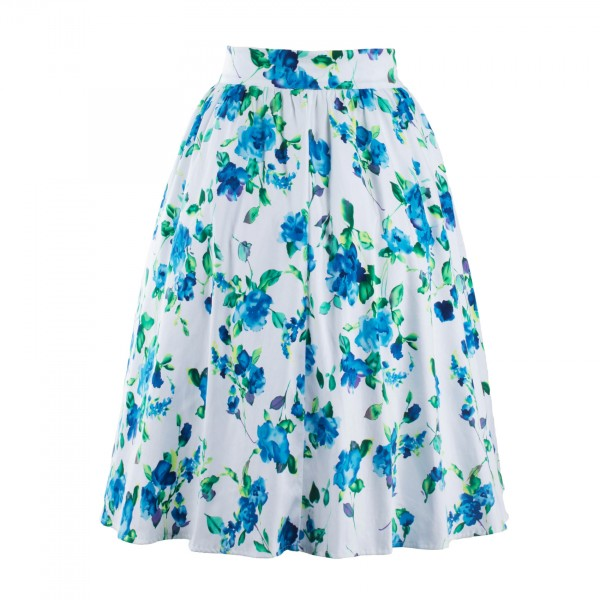 Classy Vintage Pinup Floral Print Pleated Rockabilly Midi Swing Skirt CF1248 Blue_02