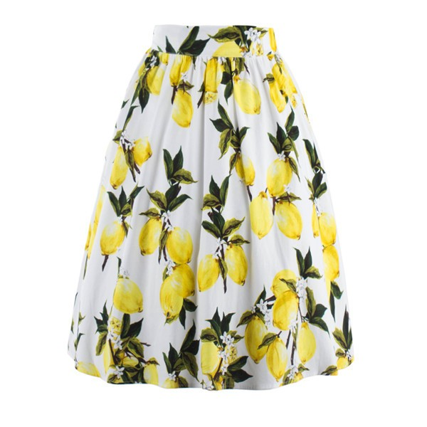 Classy Vintage Pinup Floral Print Pleated Rockabilly Midi Swing Skirt CF1248 Yellow_01