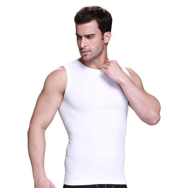 Comfortable Men's Body Slimming Compression Vest CF2015 white