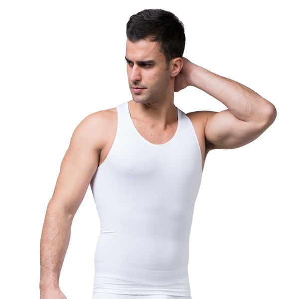 Comfortable Men's Body Slimming Short Vest CF2010 white_01