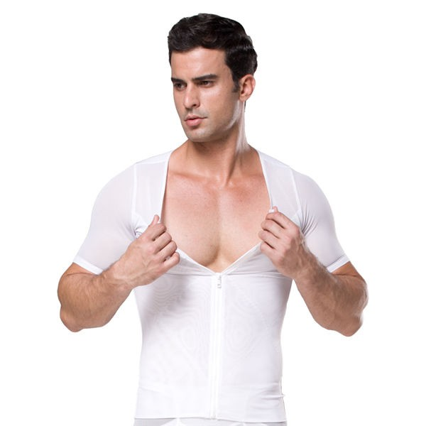 Comfortable Men's Body Slimming Zipper Vest CF2014 white
