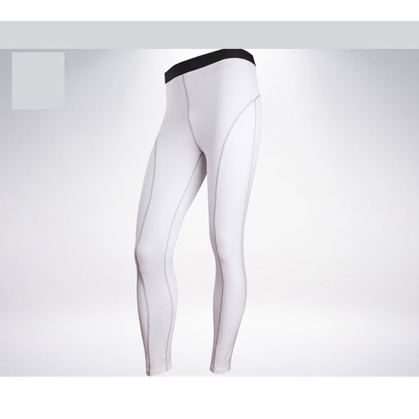 Comfortable Men's Muscle Athletic Performance Tights Pants CF2218 white