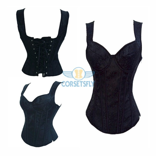 Comfortable Wide Straps Side Zipper Closure Black Brocade Overbust Corset CF5029 Black_04